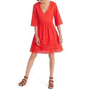 Madewell Eyelet Lattice Dress in Poppy - size 8